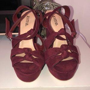"JustFab ""Khloe"" stappy velvet red heel."